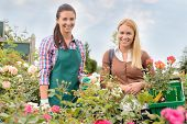 Shop assistant and customer woman in garden center smiling portrait