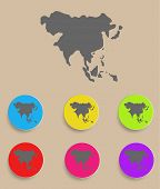 Asia Map - icon isolated. Vector