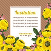 Retro Invitation With Yellow Flowers Over Brown