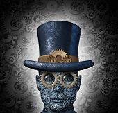 picture of steampunk  - Steampunk science fiction concept as a fantasy mechanical human head made of gears and cogs wearing a historical victorian retro top hat as a technology symbol of futuristic fictional machine hybrid - JPG