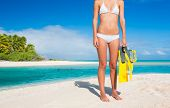 Beautiful Young Woman on Tropical Island with Snorkel Gear