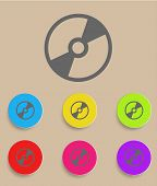 Vector CD or DVD icon with color variations