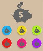 Piggy bank - saving money icon with color variations, vector