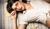 Eyewear Fashion Model. Pin Up Woman In Sun Shades