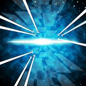 Brightness Background Shows Ablaze Stars And Arrows.