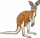 stock photo of kangaroo  - Cartoon Vector Illustration of Funny Kangaroo Animal - JPG