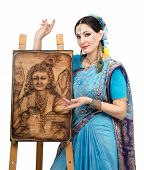 Artist Showing Pyrography Painting Prosperity On The Easel