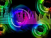 Digital Music Beats Background Means Electronic Music Or Sound Frequency.