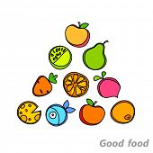 Healthy food pyramid of fruits and vegetables. Vector design.