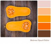 A cut butternut squash, over vintage style wooden table, in a colour palette with complimentary colour swatches