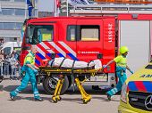 Dutch Firefighters And Medical Services In Action
