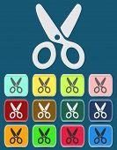 Scissors Icon with Color Variations.  Vector