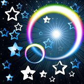 Rainbow Circles Background Means Glowing Star And Stars.