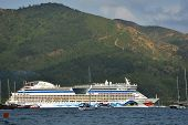 MARMARIS, TURKEY - MAY 15, 2014: Cruise ship AIDAdiva exit from the bay of Marmaris. AIDA ships cate