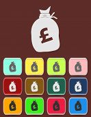 Money bag sign icon. Pound GBP