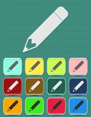 School Pencil Icon with Color Variations