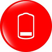 Battery Low Level Sign Icon. Electricity Symbol. Modern Ui Website Button