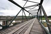 stock photo of trestle bridge  - The old iron bridge across Pai liver - JPG