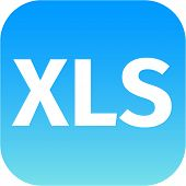 File Xls Sign Icon. Download Document File Symbol. Blue Shiny Button.