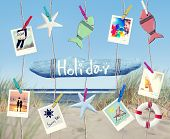 Hanging Holiday Sign  and Summer Objects on Beach