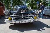 Radiator lattice of GAZ-12 ZIM car on show of collection Retrofest cars