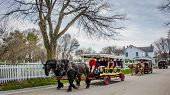 Horse drawn carriages on Mackinac Island in Northern Michigan