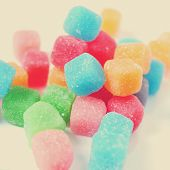 gummy cubes of different colors, with a retro effect