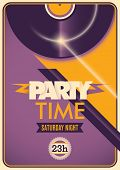 Illustrated colorful party time poster. Vector illustration.