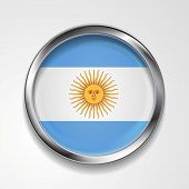 Abstract vector button with metallic frame. Argentinean flag