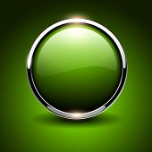 Shiny button green glossy metallic, vector illustration