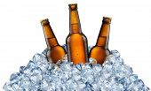 Three beer bottles getting cool in ice cubes. Isolated on a white background. File contains clipping