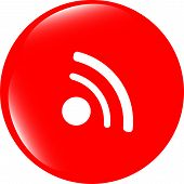 Glossy Web Button With Rss Feed Sign