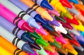 multicolored crayons closeup