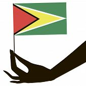 Hand With Flag Guyana