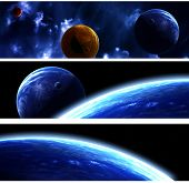 Set of space banners with planets