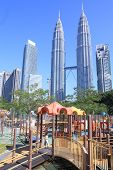 Petronas twin tower and playing ground Kuala Lumpur