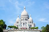 Summer view of Sacre Coeur Cathedral on Montmartre , Paris, France.