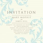Invitation with a rich background in Renaissance style. Template framework Wedding invitations or announcements with vintage background artwork. Ornate damask background