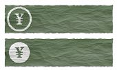 Set Of Two Banners With Crumpled Paper And Yen Symbol