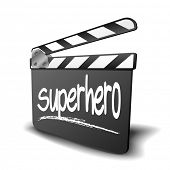detailed illustration of a clapper board with Superhero term, symbol for film and video genre, eps10 vector