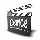 detailed illustration of a clapper board with Dance term, symbol for film and video genre, eps10 vec