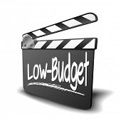 detailed illustration of a clapper board with Low-Budget term, symbol for film and video genre, eps10 vector