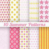 10 Light summer vector seamless patterns (tiling)