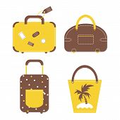 Travel luggage bags and cases collection.