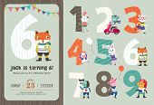 stock photo of easter card  - Birthday Anniversary Numbers with Cute Animals  - JPG