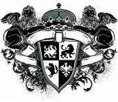 ornamental heraldic shield with lions