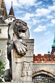 Statue of lion with emblem of Budapest on the shield,  Hungary