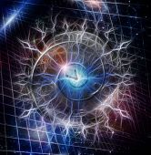 Spiral of time enclosed in crystal sphere Elements of this image furnished by NASA