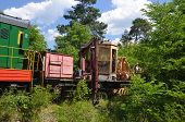 KIEV, UKRAINE -JUNE 20, 2014: Small railroad in the forest near Kiev. June 20, 2014 Kiev, Ukraine