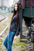 Girl at railroad